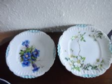VERY OLD HANDPAINTED GILDED SIGNED COMPORT & CAKE PLATE LIMOGES R. GAY AQUA RIM